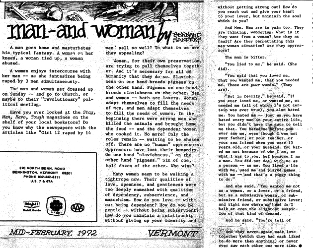 Bernie Sanders 1972 Essay Man and Woman