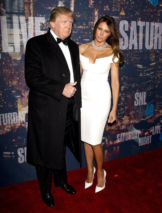 Businessman Donald Trump and wife Melania Trump arrive for the 40th Anniversary Saturday Night Live (SNL) broadcast in the Manhattan Borough of New York February 15, 2015. REUTERS/Carlo Allegri (UNITED STATES - Tags: ENTERTAINMENT REAL ESTATE BUSINESS)